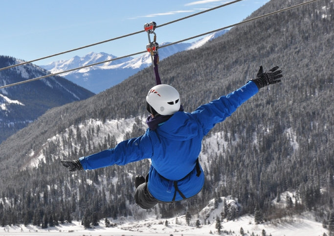 Winter Zip Line in Breckenridge